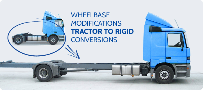 Wheelbase modifications tractor to rigid conversions